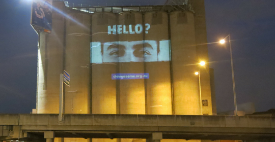 Images projected onto Richmond's Nylex Pillars