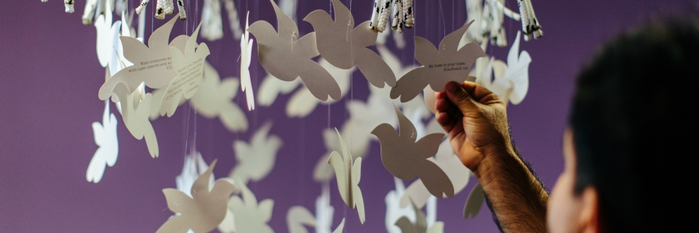 Dove artwork at ASRC reception